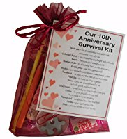 10th Anniversary Survival Kit Gift  - Great novelty present for tenth anniversary or wedding anniversary for boyfriend, girlfriend, husband, wife