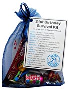 21st Birthday Survival Kit Gift - Novelty 21st gift for him BLUE Bag