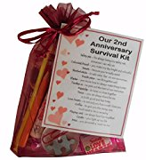 2nd Anniversary Survival Kit Gift  - Great novelty present for second anniversary or wedding anniversary for boyfriend, girlfriend, husband, wife