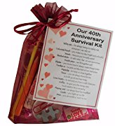 40th Anniversary Survival Kit Gift  - Great novelty present for ruby anniversary, fortieth anniversary for boyfriend, girlfriend, husband, wife