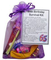 65th Birthday Survival Kit Gift  - Small novelty gift for 65th birthday for her or gift for him