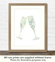 Champagne Art Print - Great gift idea for house warming, birthdays or christmas