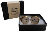 "Handcrafted ""Trust Me - I'm a Plumber"" Cuff links - excellent Valentine's Day, Christmas, thank you or birthday gift"