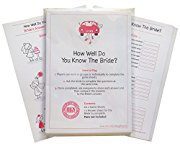 How Well Do You Know The Bride? Quiz Game including 20 Game Cards  - plus one for the Bride