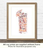 Long Island Iced Tea Cocktail Art Print - Great gift idea for house warming, birthdays or christmas