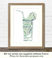 Mojito Cocktail Art Print - Great gift idea for house warming, birthdays or christmas