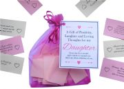 Handmade Daughter Gift Quotes of Positivity, Laughter and Loving Thoughts. 31 inspirational quotes for each day of the month. Letterbox friendly.