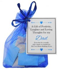 Handmade Dad Gift Quotes of Positivity, Laughter and Loving Thoughts. 31 inspirational quotes for each day of the month. Letterbox friendly.