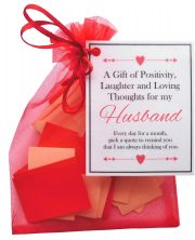 Handmade Husband Gift Quotes of Positivity, Laughter and Loving Thoughts. 31 inspirational quotes for each day of the month. Letterbox friendly.