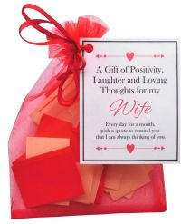 Handmade Wife Gift Quotes of Positivity, Laughter and Loving Thoughts. 31 inspirational quotes for each day of the month. Letterbox friendly.