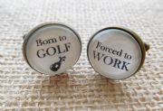 Silver Effect Born to GOLF, Forced to WORK Cufflinks