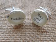 "Silver Effect Handcrafted ""Yorkshire Born and Bred"" Cufflinks - Fun Christmas gift for him, Yorkshireman gift for him"