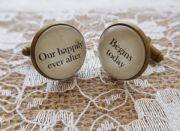 "Silver Effect Handcrafted ""Our happily ever after begins today"" Groom cufflinks , wedding cufflinks, groom gift, Free UK Shipping"