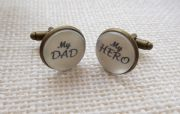 Silver Effect My DAD, My HERO cufflinks
