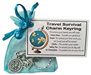 Travel Survival Charm KEYRING with St Christopher charm. Handmade good luck gift for traveller, travel gift, good luck on your travels. -