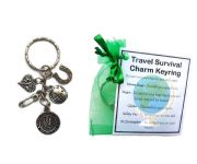 Travel Survival Charm Keyring - Handmade good luck gift including St Christopher charm