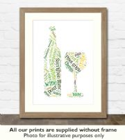 White Wine Art Print - Great gift idea for house warming, birthdays or christmas