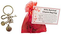 Wife Survival Charm Keyring - Handmade Wife Gift for Wife